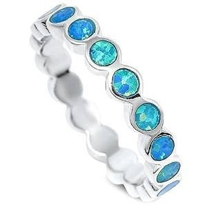 Round Blue Opal Fashion Band .925 Sterling Silver Ring Sizes 4-10