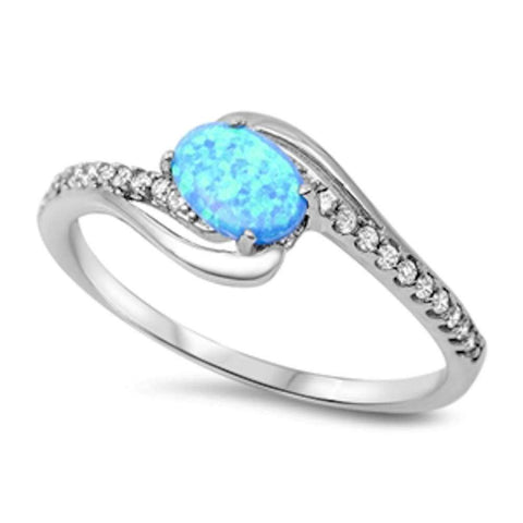 Oval Fire Blue Opal & Cubic Zirconia .925 Sterling Silver Ring Sizes 4-12