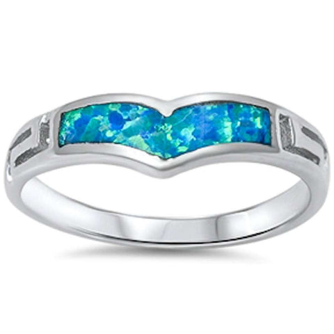 New Blue Opal Design .925 Sterling Silver Ring Sizes 5-10
