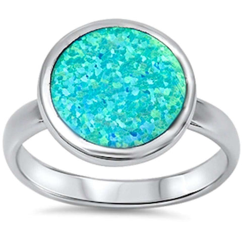 Solid Round Blue Fire Opal .925 Sterling Silver Ring Sizes 6-10