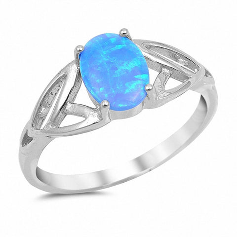 Solitaire Celtic Ring Oval Lab Created Blue Opal 925 Sterling Silver