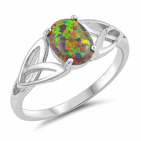 Solitaire Celtic Ring Oval Created Lab Black Opal 925 Sterling Silver