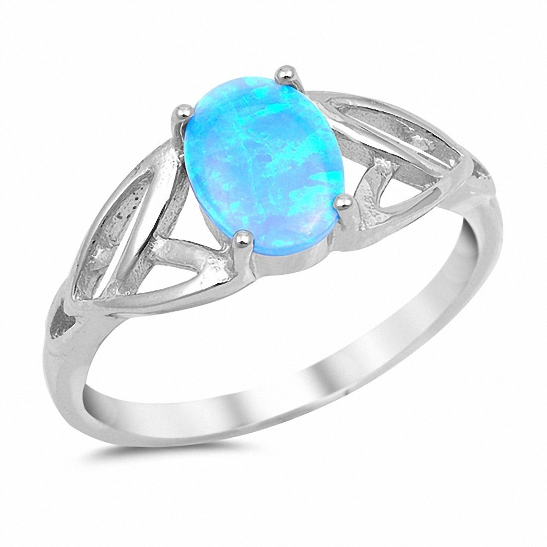 Solitaire Celtic Ring Oval Lab Created Light Blue Opal 925 Sterling Silver