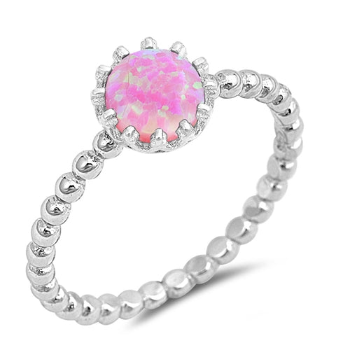 Solitaire Fashion Bead Ball Ring Lab Created Pink Opal 925 Sterling Silver
