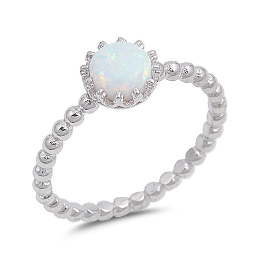 Solitaire Fashion Bead Ball Ring Lab Created White Opal 925 Sterling Silver