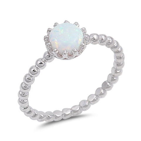 Solitaire Fashion Bead Ball Band Ring Round Lab Created White Opal 925 Sterling Silver