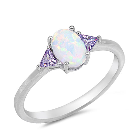 Accent Engagement Ring Lab Created White Opal Simulated Amethyst CZ 925 Sterling Silver