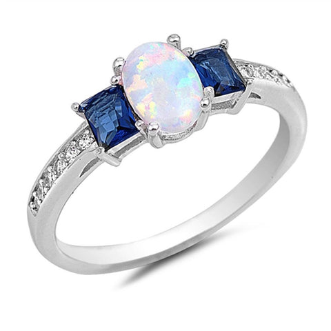 Oval White Opal & Baguette Sapphire .925 Sterling Silver Ring Sizes 4-10
