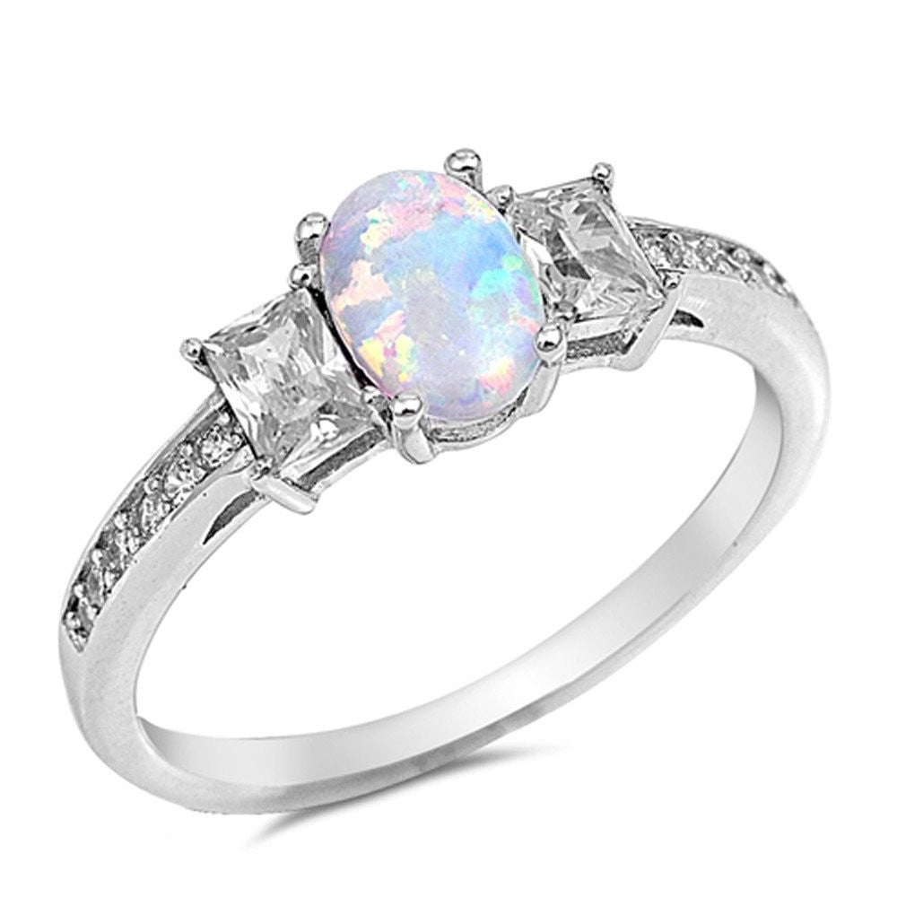 3 Stone Wedding Ring Lab White Opal Simulated CZ 925 Sterling Silver