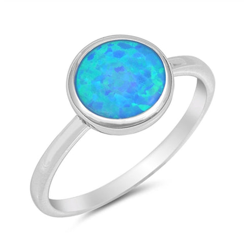 Solid Round Blue Opal .925 Sterling Silver Ring Sizes 4-10