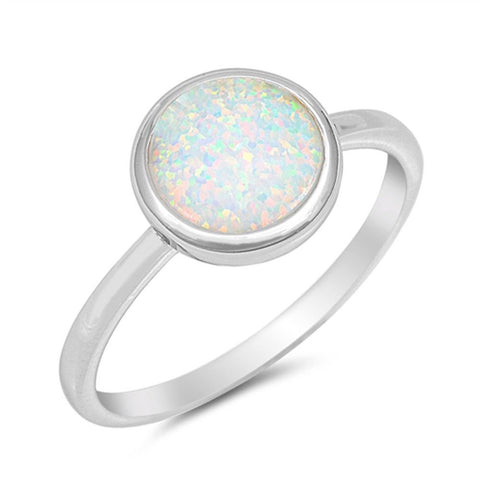 Solid Round White Opal .925 Sterling Silver Ring Sizes 4-10