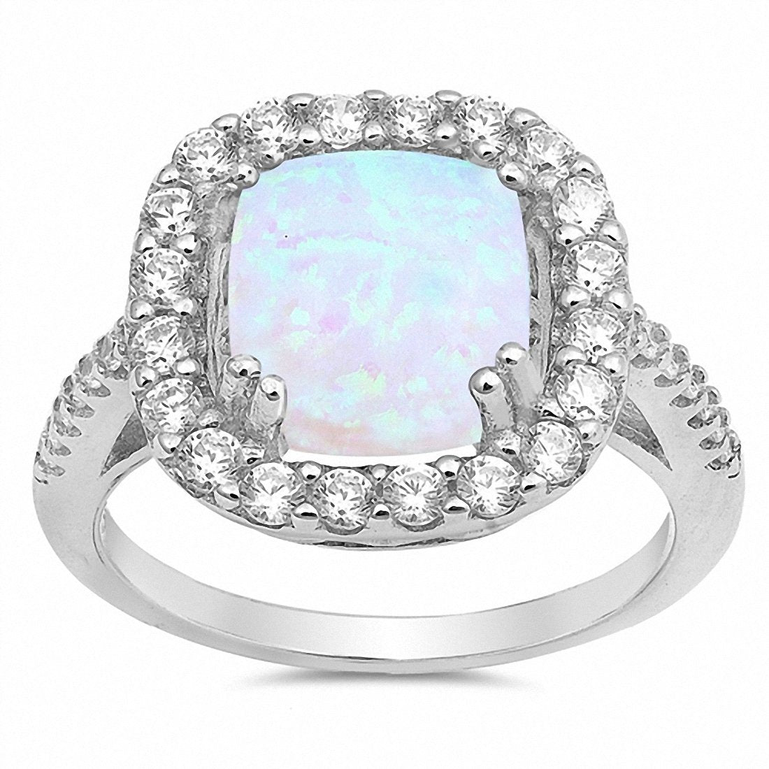 Halo Ring Princess Cut Lab Created White Opal 925 Sterling Silver