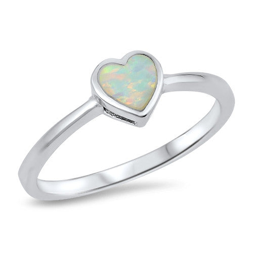 Solitaire Heart Promise Ring Lab Created White Opal 925 Sterling Silver