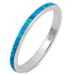 Stackable Band Ring Lab Created Blue Opal 925 Sterling Silver