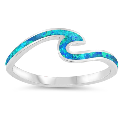 Small Wave Ring Petite Dainty Created Blue Opal 925 Sterling Silver