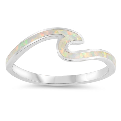 Small Wave Ring Petite Dainty Created White Opal 925 Sterling Silver