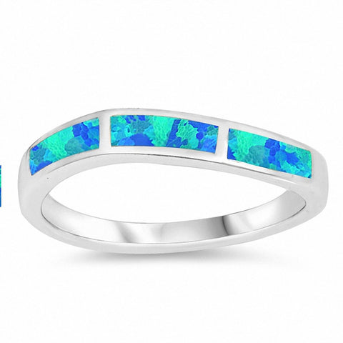 Half Eternity Style Created Opal Band 925 Sterling Silver Choose Color