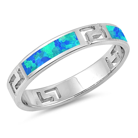 Greek Key Band Ring Lab Created Blue Opal 925 Sterling Silver