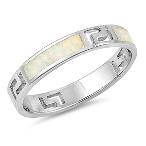 Greek Key Band Ring Lab Created White Opal 925 Sterling Silver