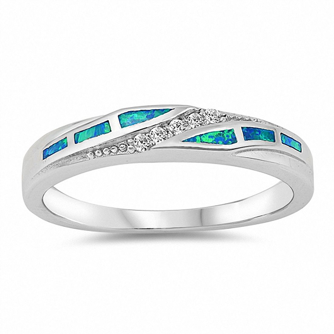 Half Eternity Band Ring Lab Created Blue Opal 925 Sterling Silver