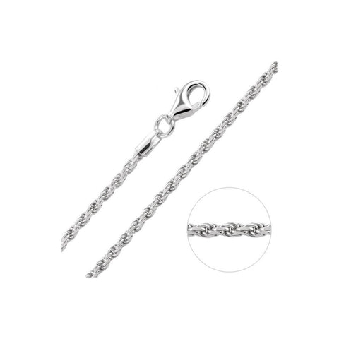 "2.5MM 050 Rope Chain .925 Solid Sterling Silver Sizes ""7-30"""