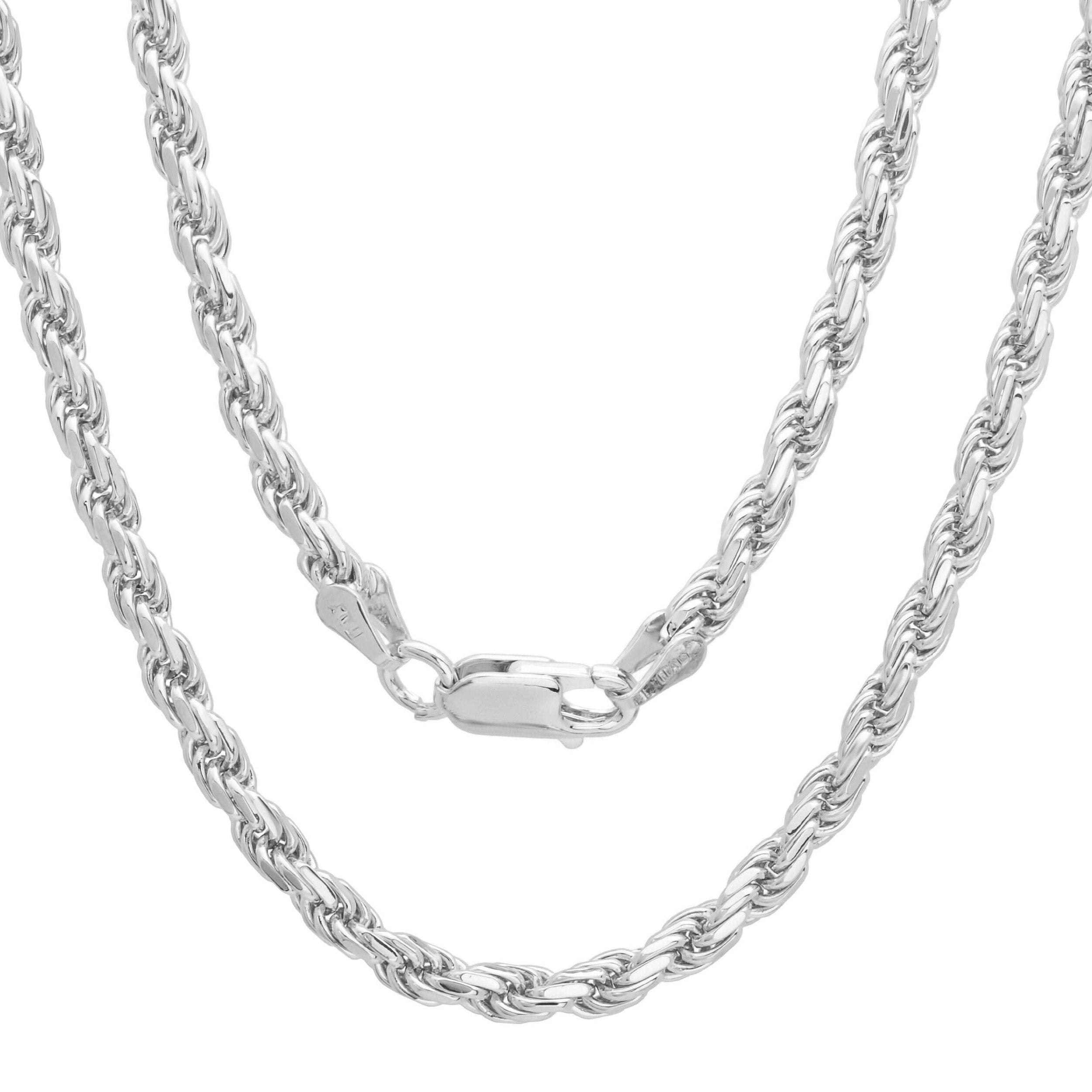 "4MM 080 Rhodium Plated Rope Chain .925 Sterling Silver Length ""8-28"" Inches"