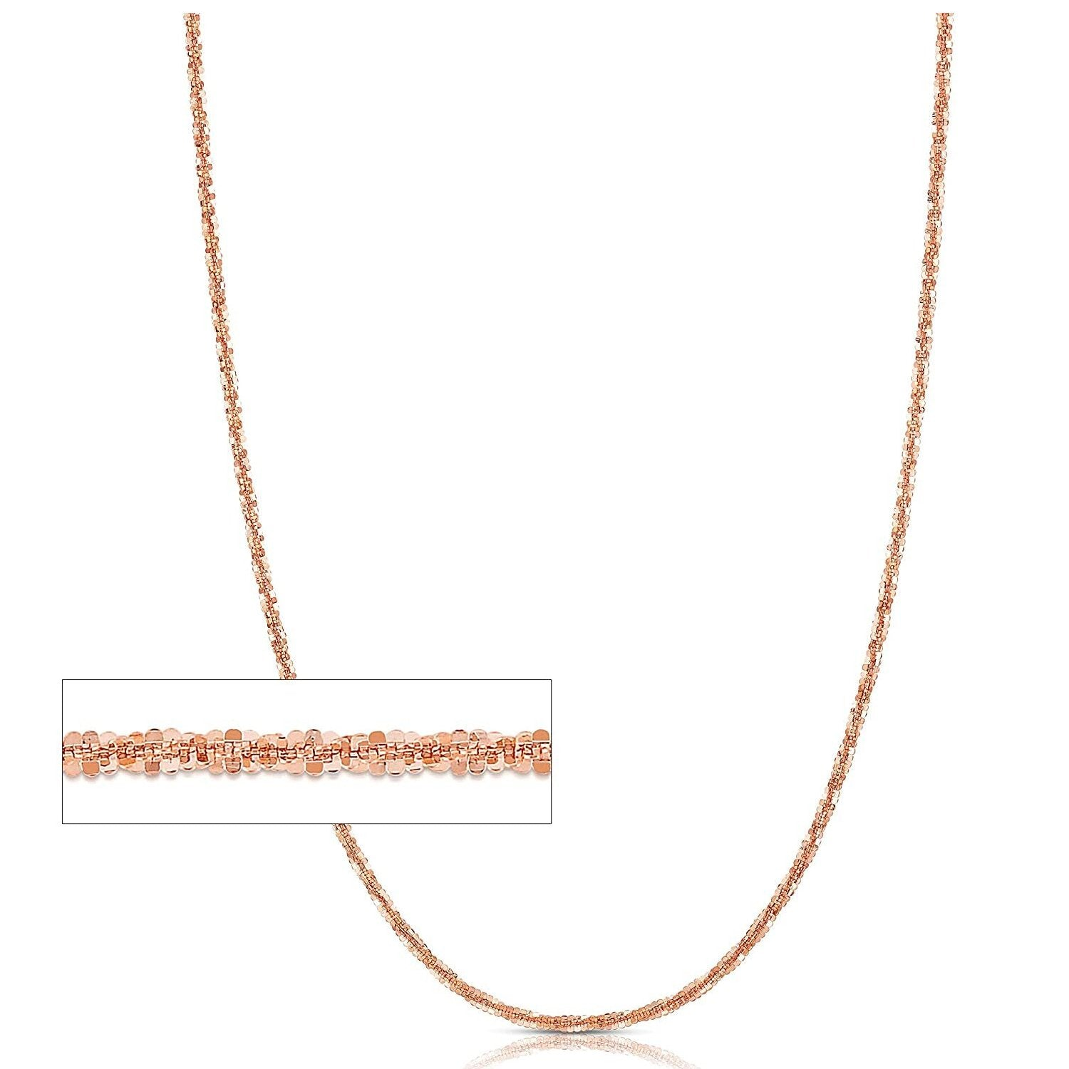 "1.4MM Criss Cross Rose Gold Chain .925 Sterling Silver Length ""16-22"" Inches"