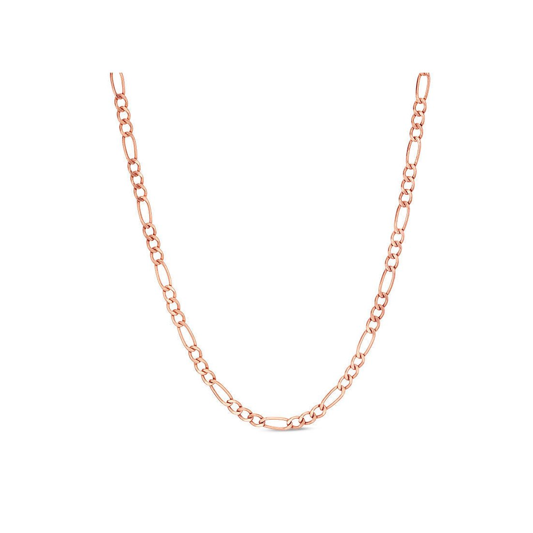 "1.5MM 040 Rose Tone Figaro Chain .925 Sterling Silver Length ""16-22"" Inches"