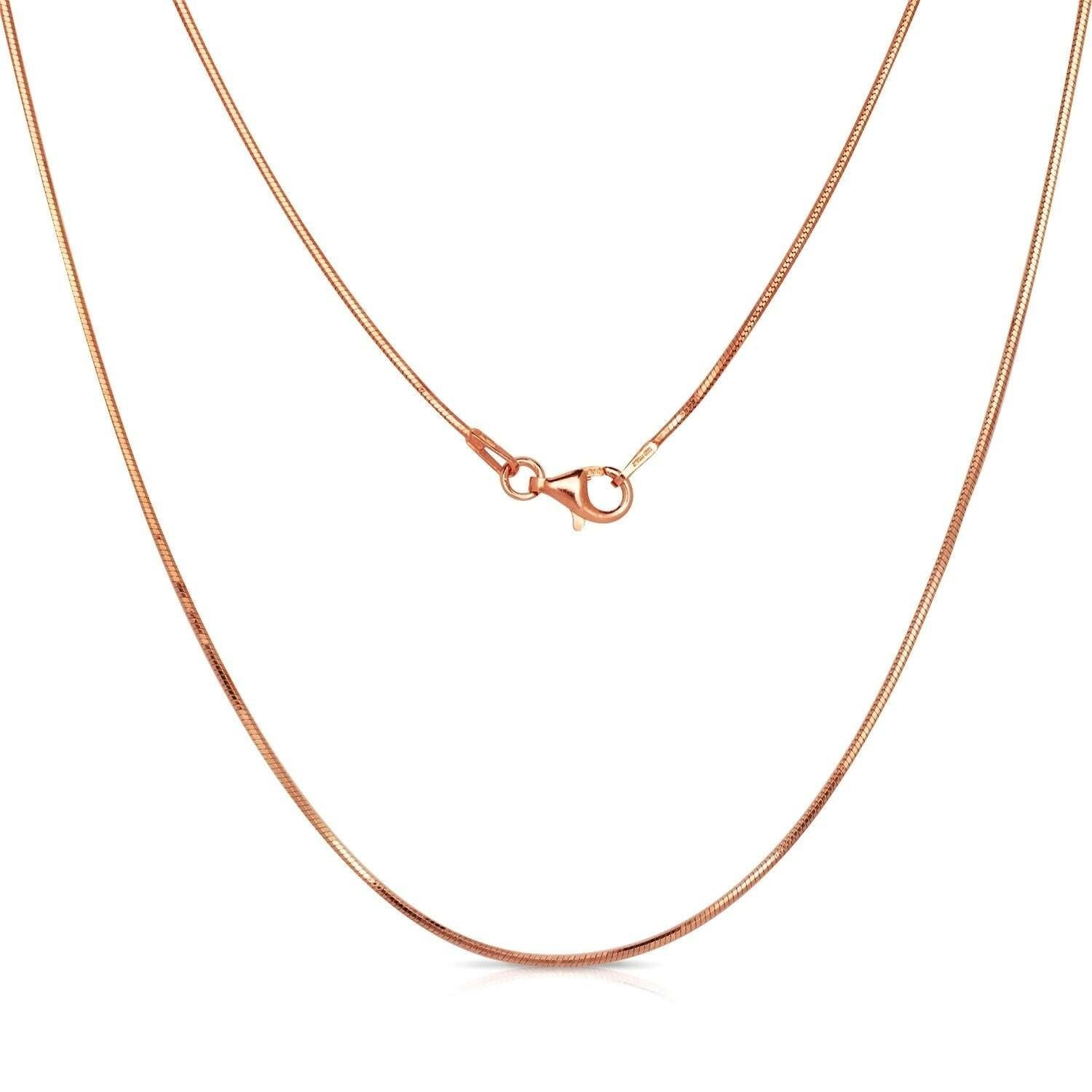 "1MM 020 Rose Gold Snake Chain .925 Sterling Silver Length 16""-26"" Inches"