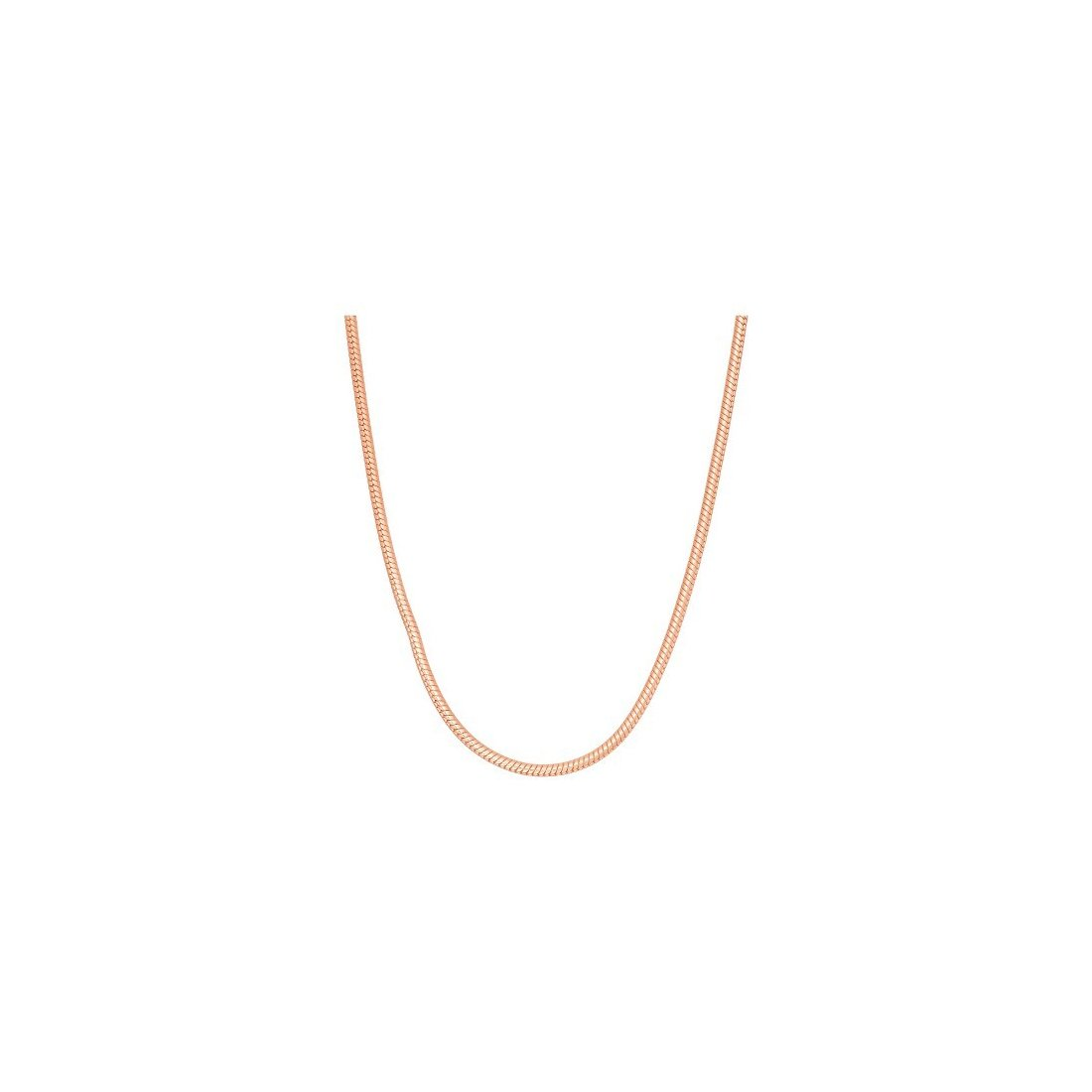 "0.7MM 8 Sides Rose Gold Snake Chain .925 Sterling Silver Length ""16-20"" Inches"