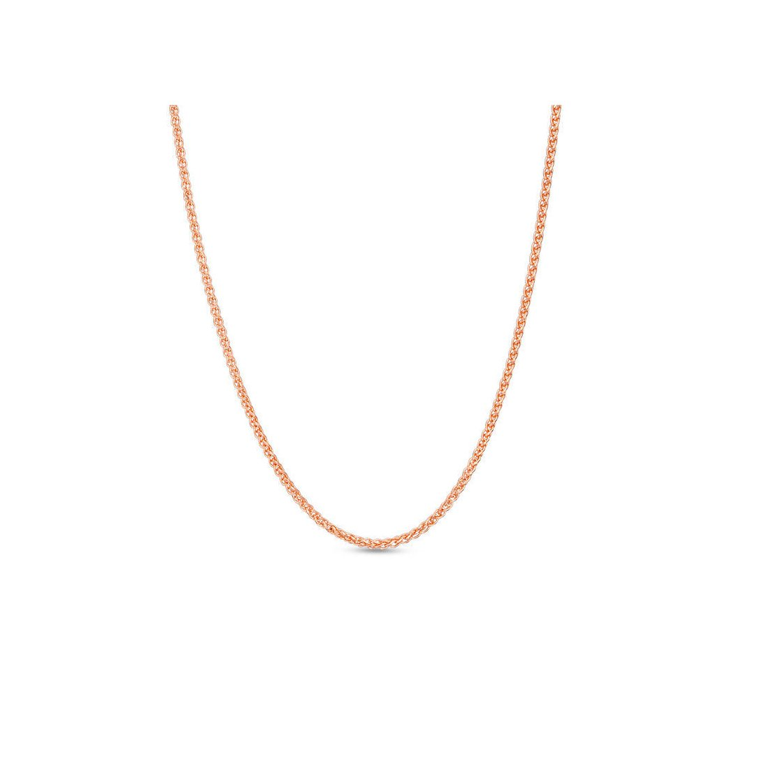 "1.2MM 030 Rose Gold Wheat/Spiga Chain .925 Sterling Silver Length ""7-24"" Inches"