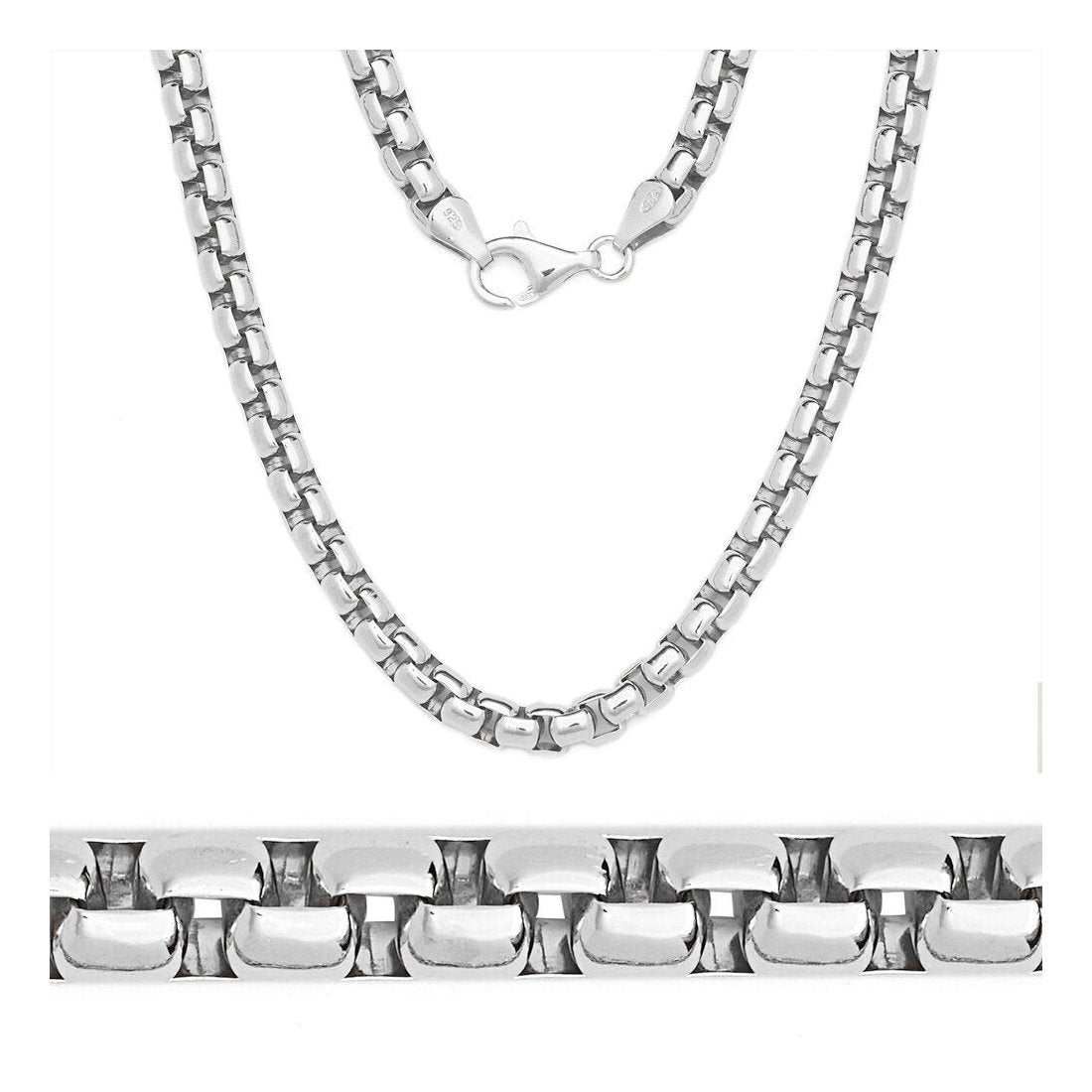 "4.4MM Round Box Chain .925 Solid Sterling Silver Sizes ""8-28"" Inch"