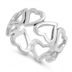 Silver Ring - Heart Band-$6.06