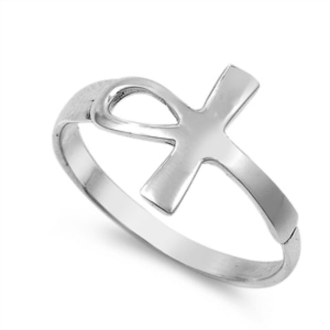 Petite Dainty Sideways Ankh Egyptian Ring 925 Sterling Silver