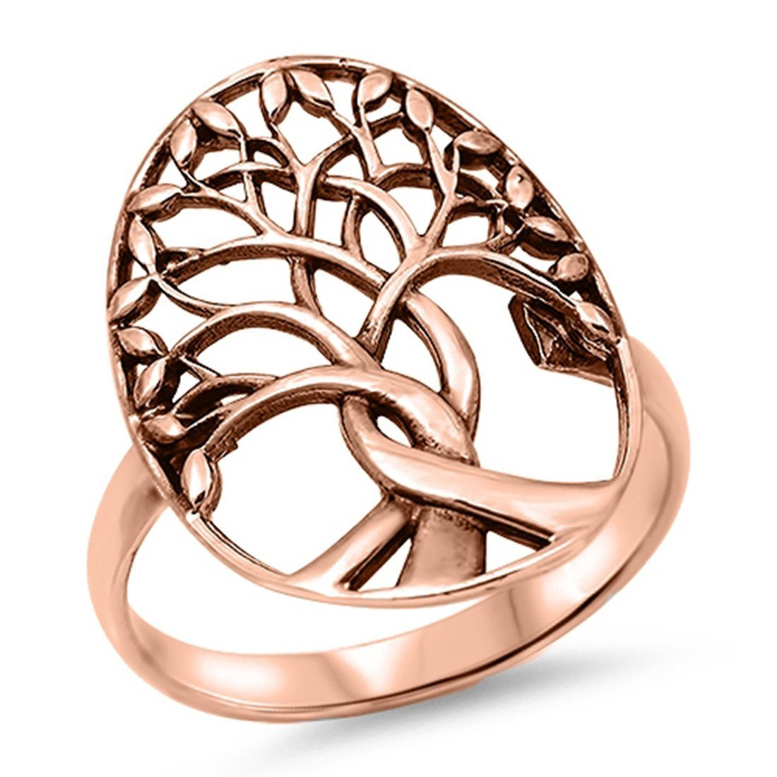 Tree of Life Simple Plain Ring Rose Gold Tone Solid 925 Sterling Silver