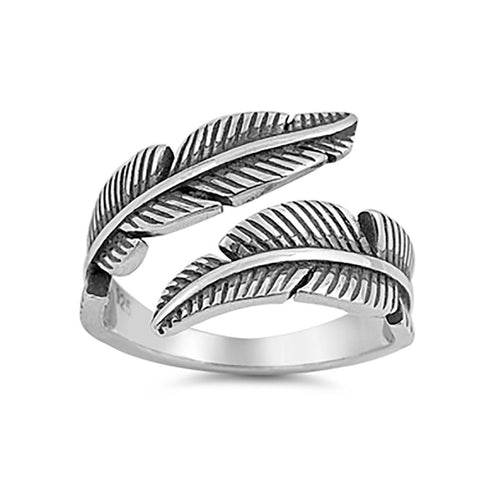 Plain Feather Ring 925 Sterling Silver
