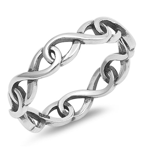 4mm Full Eternity Infinity Stackable Band Ring Wraparound 925 Sterling Silver Oxidized Design