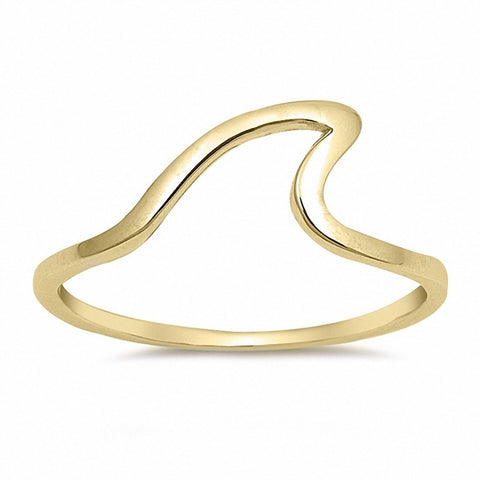 Wave Band Ring Simple Plain Yellow Tone 925 Sterling Silver