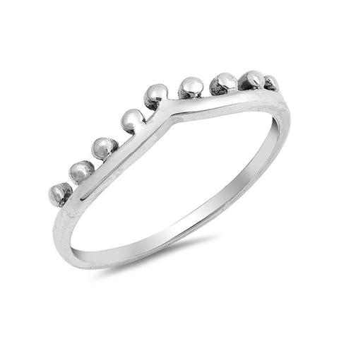 V Design Crown Ring Band Simple Plain 925 Sterling Silver