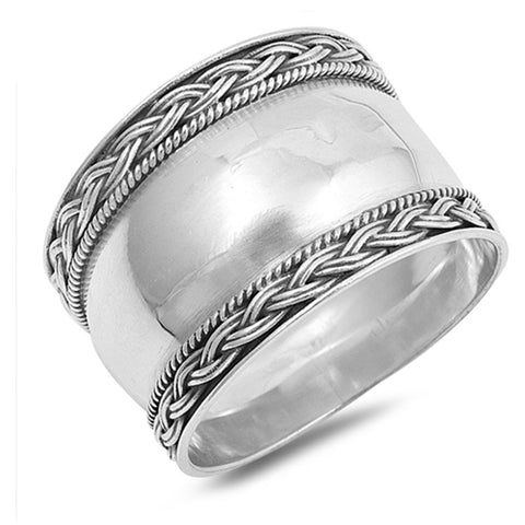 aec90a632dc5 15mm Bali Band Ring Braided Oxidized Design 925 Sterling Silver Choose Color