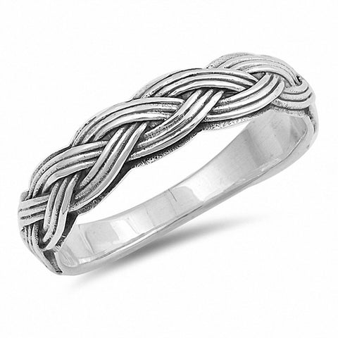5mm Unisex Band Ring Intricate Braided Twisted Rope 925 Sterling Silver Men Women
