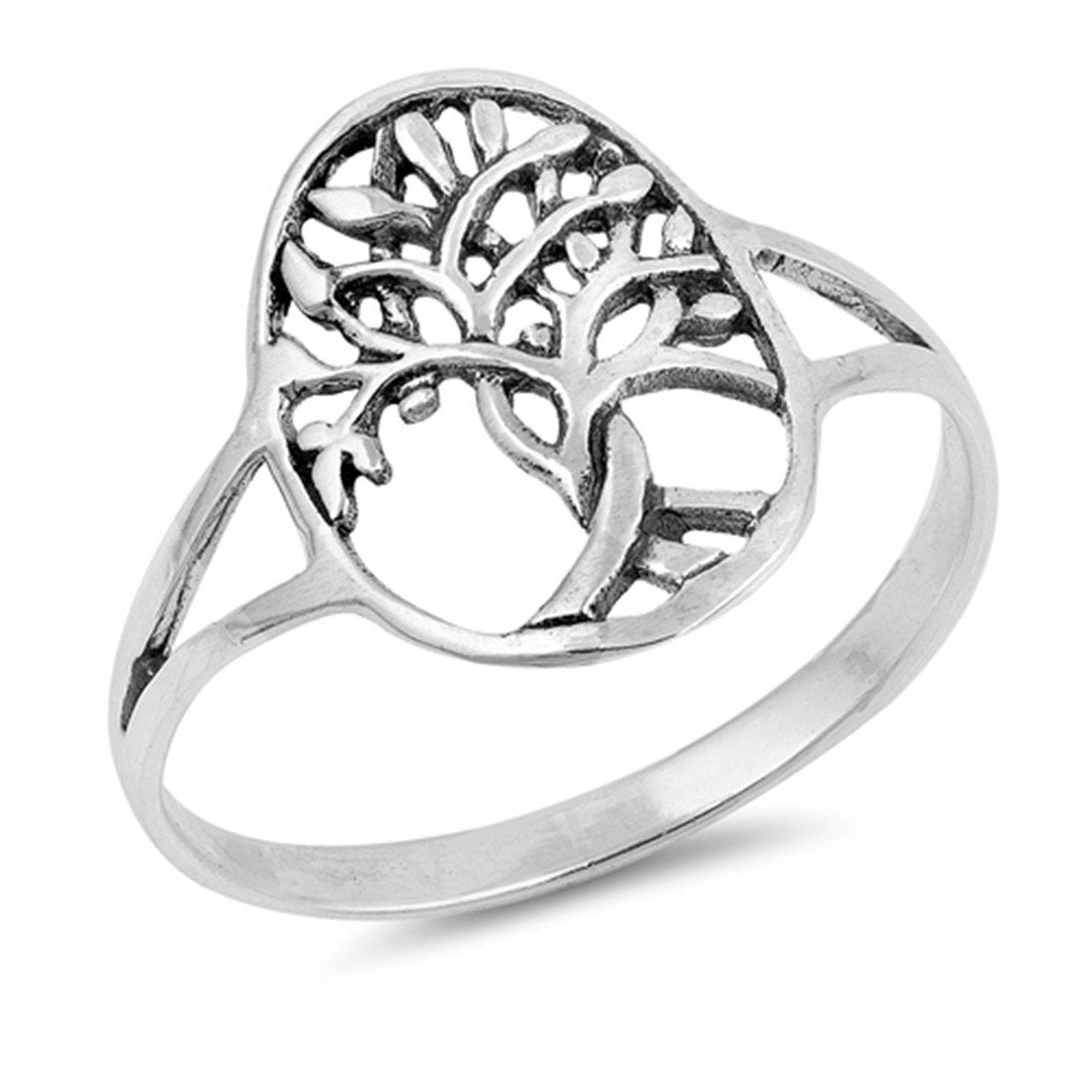 Split Shank Tree of Life Band Ring 925 Sterling Silver