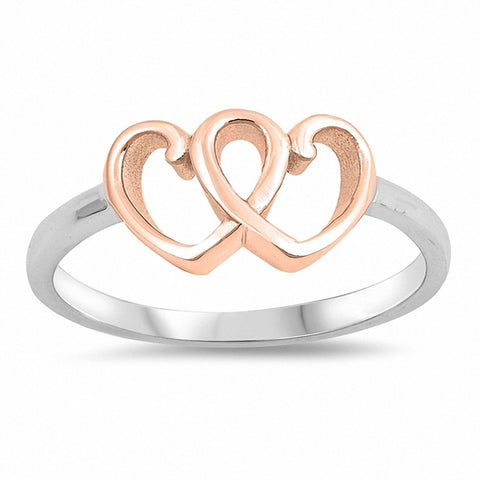 Two Tone Double Heart Ring Band 925 Sterling Silver Choose Color