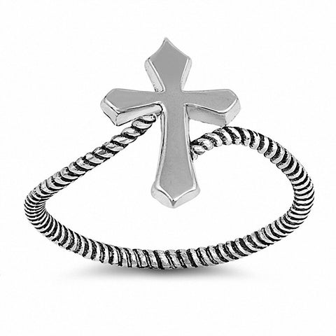 Twisted Rope Cross Band Ring 925 Sterling Silver Choose Color