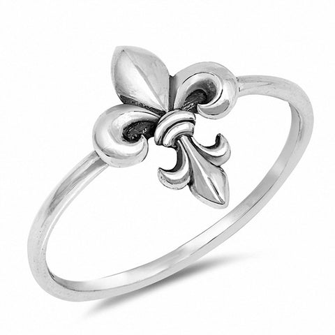 Fleur De Lis Ring Band 925 Sterling Silver Choose Color