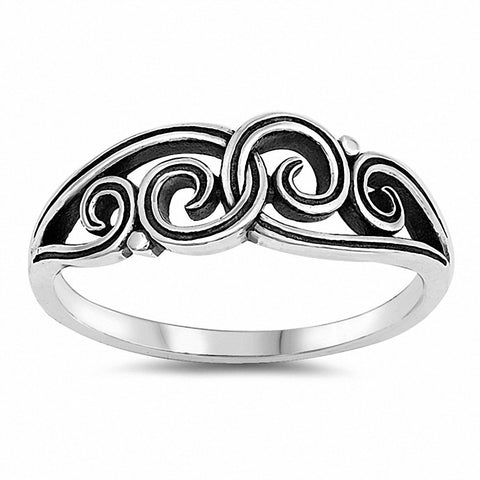 Filigree Swirl Band Ring 925 Sterling Silver Choose Color