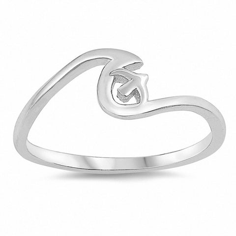 Wave Sparrow Ring Band 925 Sterling Silver Choose Color
