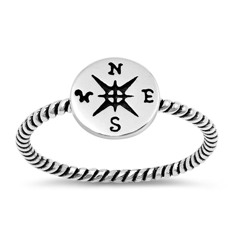 Compass Band Ring Oxidized Design 925 Sterling Silver