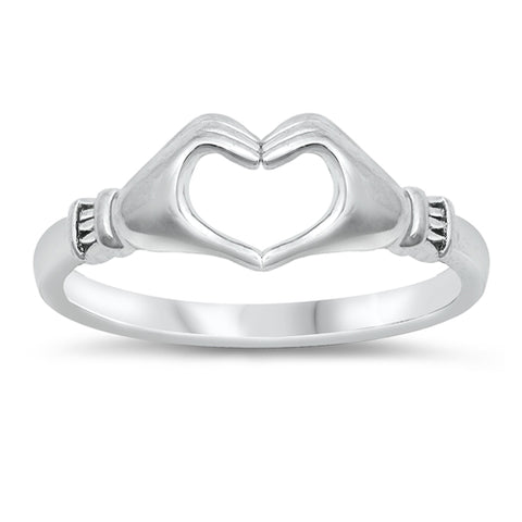 Open Hands Heart Ring Band 925 Sterling Silver