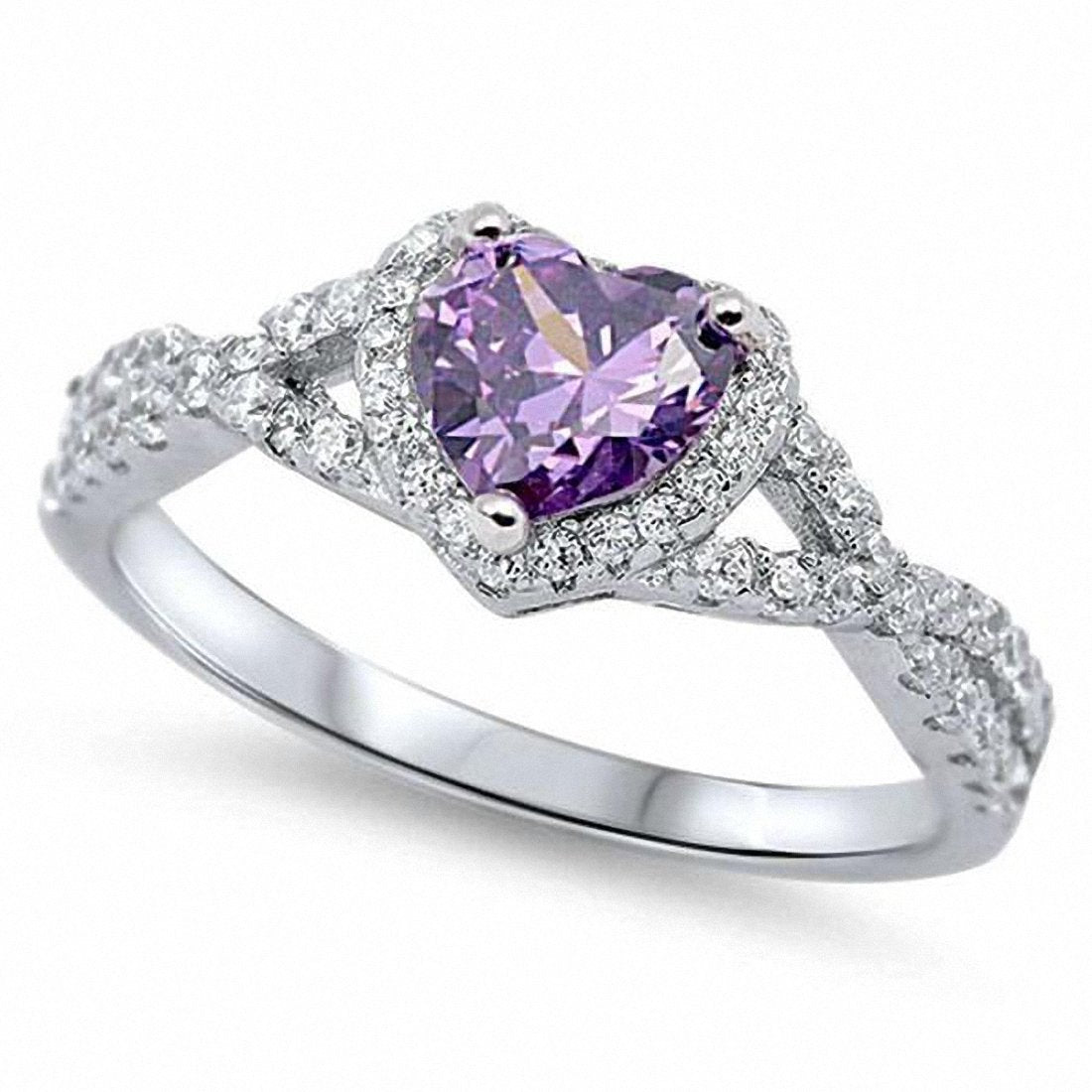 Halo Infinity Shank Heart Ring Round Simulated Amethyst CZ 925 Sterling Silver